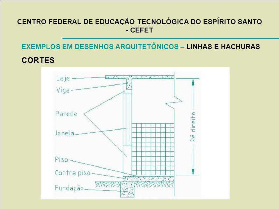 CENTRO FEDERAL DE EDUCAÇÃO TECNOLÓGICA DO ESPÍRITO SANTO - CEFET EXEMPLOS EM DESENHOS ARQUITETÔNICOS – LINHAS E HACHURAS CORTES