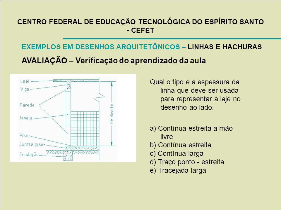 CENTRO FEDERAL DE EDUCAÇÃO TECNOLÓGICA DO ESPÍRITO SANTO - CEFET EXEMPLOS EM DESENHOS ARQUITETÔNICOS – LINHAS E HACHURAS AVALIAÇÃO – Verificação do ap