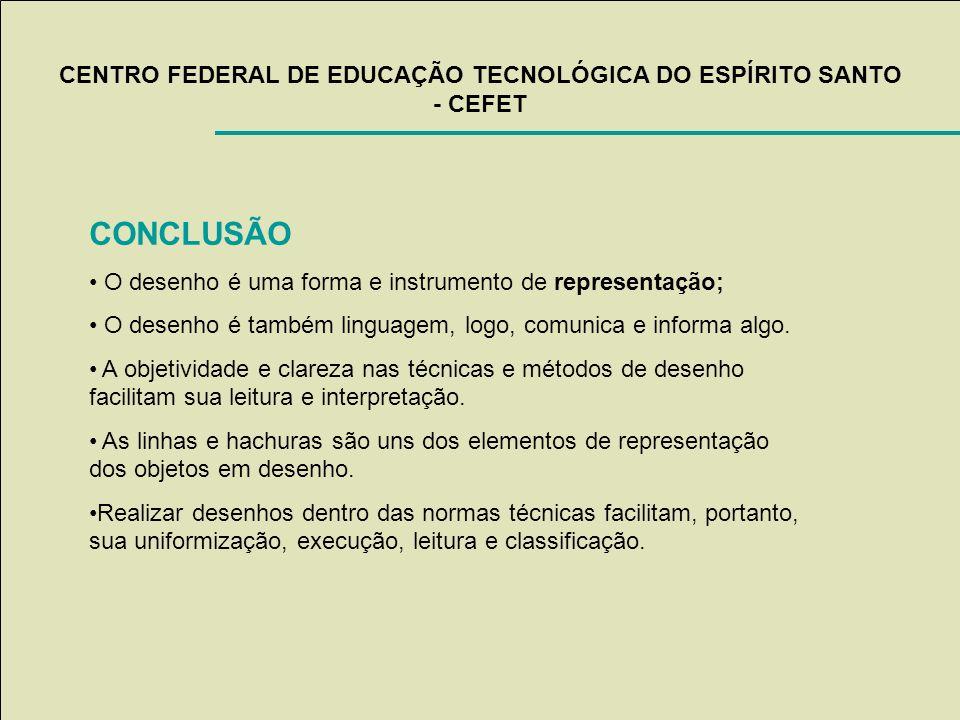 CENTRO FEDERAL DE EDUCAÇÃO TECNOLÓGICA DO ESPÍRITO SANTO - CEFET CONCLUSÃO O desenho é uma forma e instrumento de representação; O desenho é também li