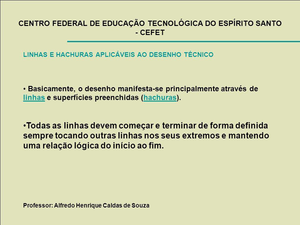 CENTRO FEDERAL DE EDUCAÇÃO TECNOLÓGICA DO ESPÍRITO SANTO - CEFET LINHAS E HACHURAS APLICÁVEIS AO DESENHO TÉCNICO Basicamente, o desenho manifesta-se p