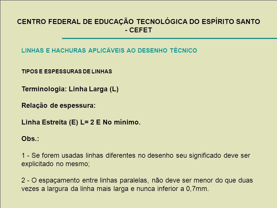 CENTRO FEDERAL DE EDUCAÇÃO TECNOLÓGICA DO ESPÍRITO SANTO - CEFET LINHAS E HACHURAS APLICÁVEIS AO DESENHO TÉCNICO TIPOS E ESPESSURAS DE LINHAS Terminol
