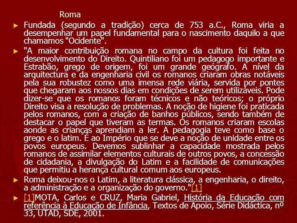 Roma Fundada (segundo a tradição) cerca de 753 a.C., Roma viria a desempenhar um papel fundamental para o nascimento daquilo a que chamamos