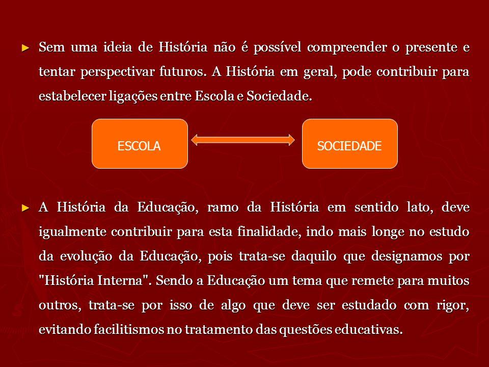 Sem uma ideia de História não é possível compreender o presente e tentar perspectivar futuros. A História em geral, pode contribuir para estabelecer l