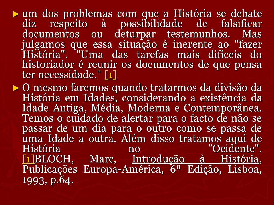 um dos problemas com que a História se debate diz respeito à possibilidade de falsificar documentos ou deturpar testemunhos. Mas julgamos que essa sit