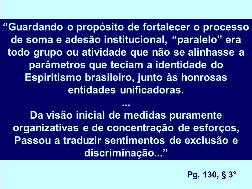 Guardando o propósito de fortalecer o processo de soma e adesão institucional, paralelo era todo grupo ou atividade que não se alinhasse a parâmetros que teciam a identidade do Espiritismo brasileiro, junto às honrosas entidades unificadoras....