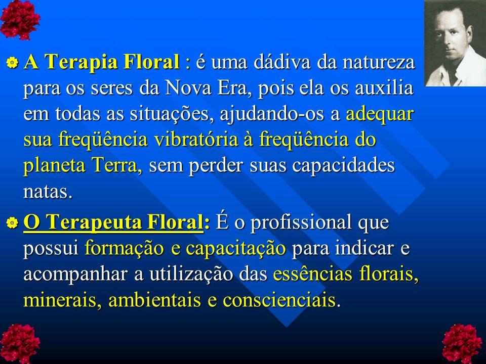 A Terapia Floral : é uma dádiva da natureza para os seres da Nova Era, pois ela os auxilia em todas as situações, ajudando-os a adequar sua freqüência