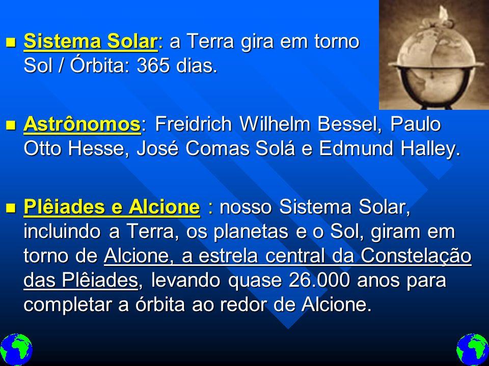 Sistema Solar: a Terra gira em torno do Sol / Órbita: 365 dias. Sistema Solar: a Terra gira em torno do Sol / Órbita: 365 dias. Astrônomos: Freidrich
