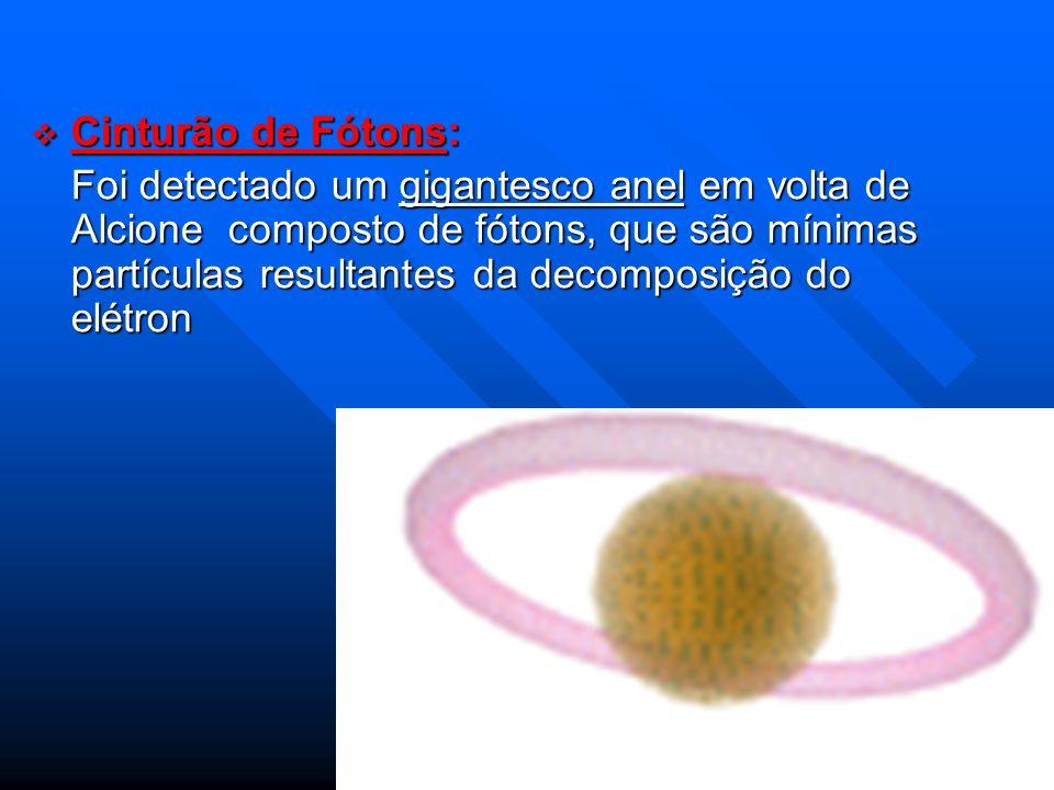 Cinturão de Fótons: Cinturão de Fótons: Foi detectado um gigantesco anel em volta de Alcione composto de fótons, que são mínimas partículas resultante