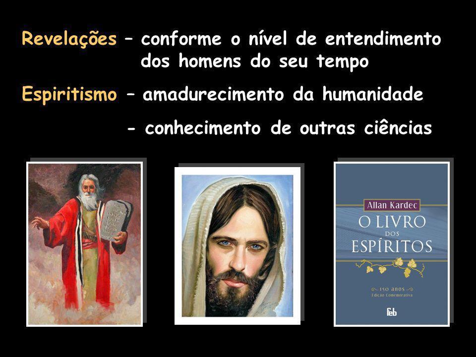 Revelações – conforme o nível de entendimento dos homens do seu tempo Espiritismo – amadurecimento da humanidade - conhecimento de outras ciências