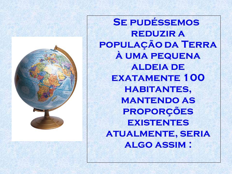 Se pudéssemos reduzir a população da Terra à uma pequena aldeia de exatamente 100 habitantes, mantendo as proporções existentes atualmente, seria algo