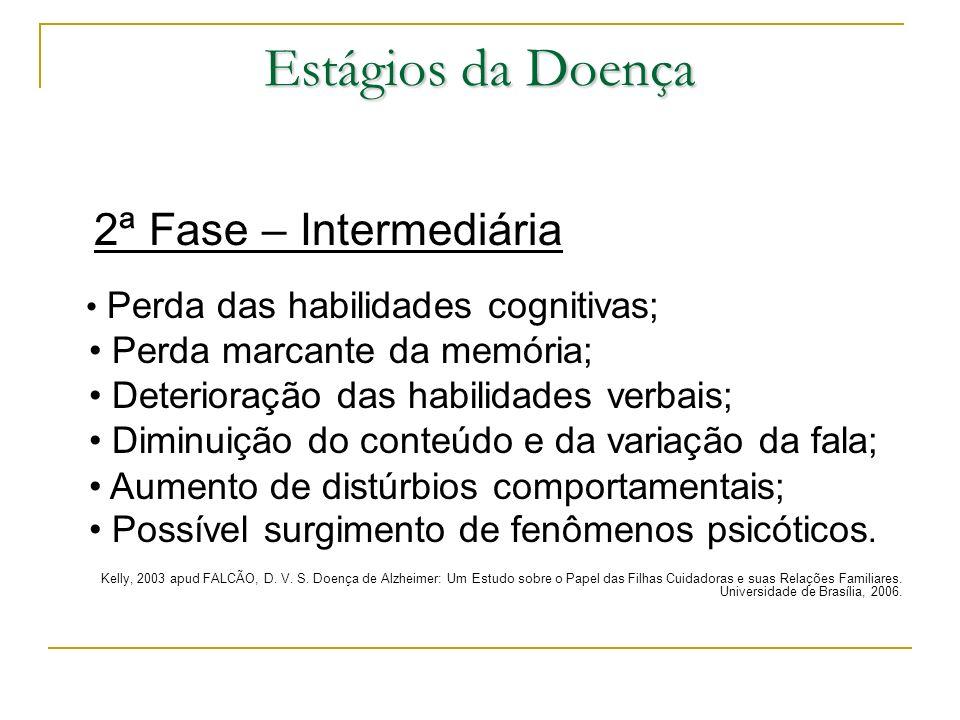 Estágios da Doença 2ª Fase – Intermediária Perda das habilidades cognitivas; Perda marcante da memória; Deterioração das habilidades verbais; Diminuiç