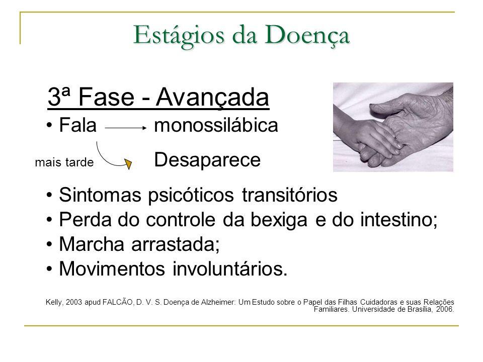 Estágios da Doença 3ª Fase - Avançada Fala monossilábica mais tarde Desaparece Sintomas psicóticos transitórios Perda do controle da bexiga e do intes
