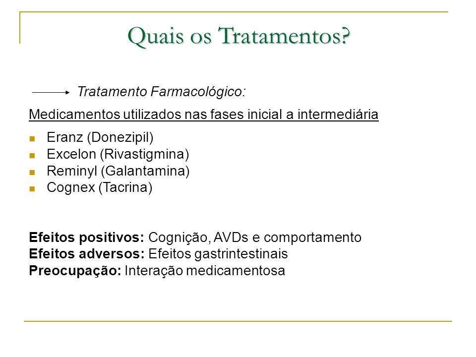 Quais os Tratamentos? Tratamento Farmacológico: Medicamentos utilizados nas fases inicial a intermediária Eranz (Donezipil) Excelon (Rivastigmina) Rem