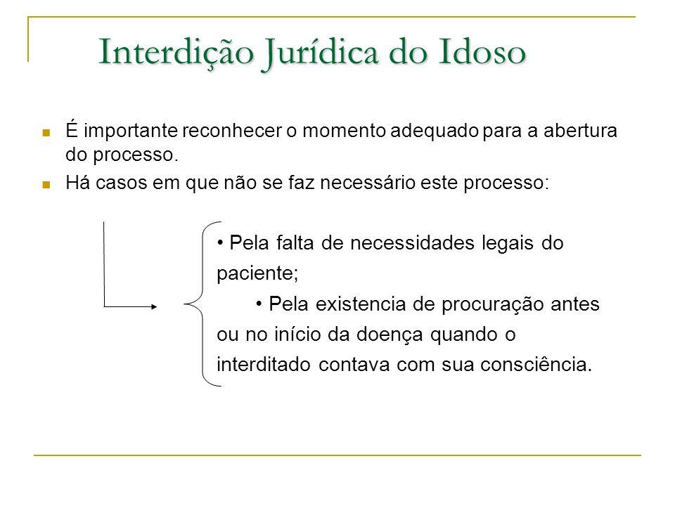 Interdição Jurídica do Idoso É importante reconhecer o momento adequado para a abertura do processo. Há casos em que não se faz necessário este proces