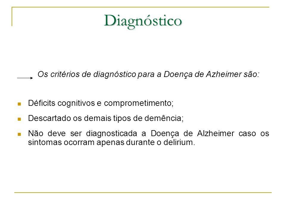 Diagnóstico Os critérios de diagnóstico para a Doença de Azheimer são: Déficits cognitivos e comprometimento; Descartado os demais tipos de demência;