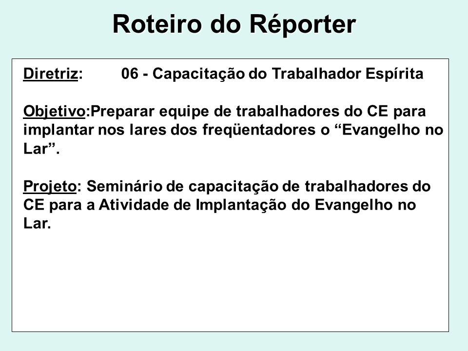 Roteiro do Réporter Diretriz: 06 - Capacitação do Trabalhador Espírita Objetivo:Preparar equipe de trabalhadores do CE para implantar nos lares dos fr