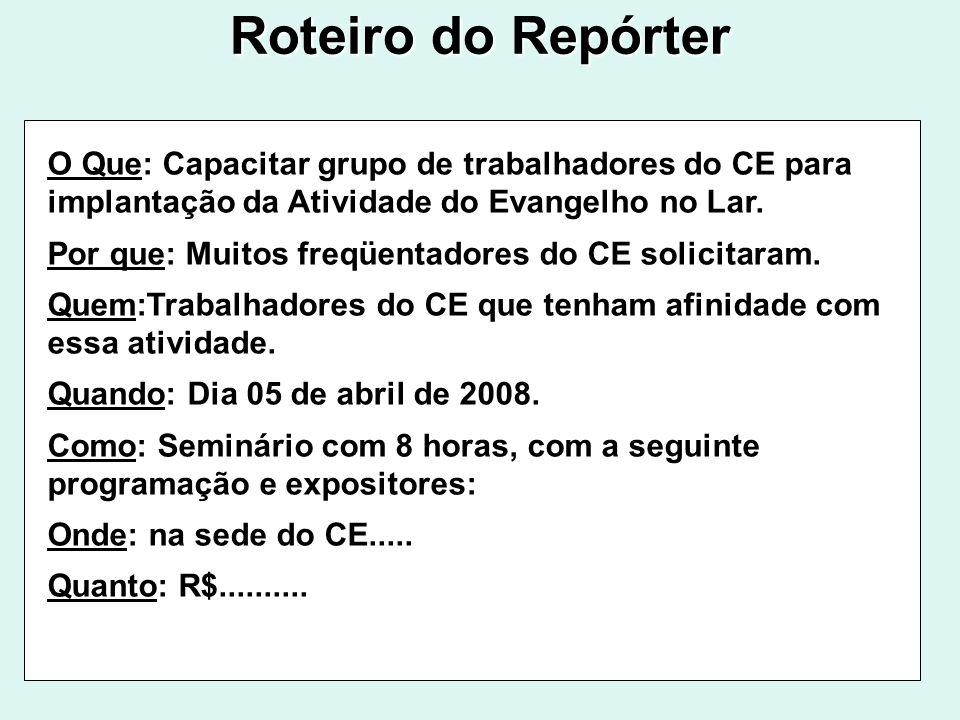 Roteiro do Repórter O Que: Capacitar grupo de trabalhadores do CE para implantação da Atividade do Evangelho no Lar. Por que: Muitos freqüentadores do