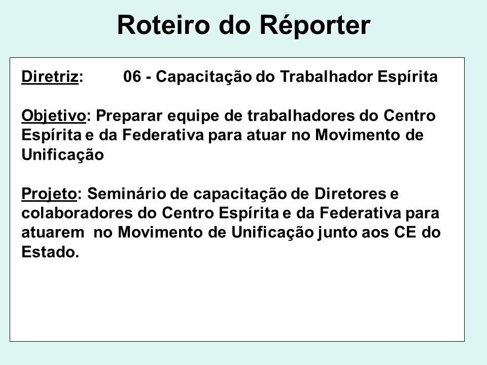 Roteiro do Réporter Diretriz: 06 - Capacitação do Trabalhador Espírita Objetivo: Preparar equipe de trabalhadores do Centro Espírita e da Federativa p