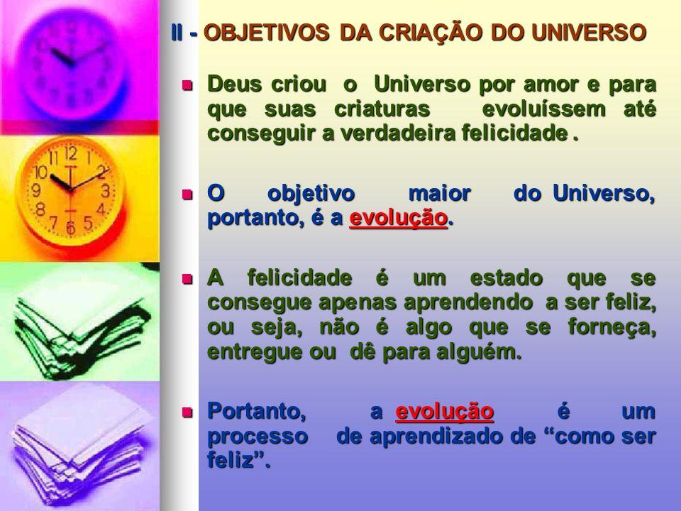 I - PRINCÍPIOS GERAIS DO UNIVERSO DEUS Causa Primeira, Inteligência Suprema, Criador e Lei do Universo. PRINCÍPIO MATERIAL Dá origem a todas as manife