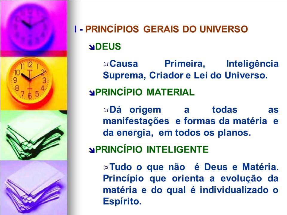 I - PRINCÍPIOS GERAIS DO UNIVERSO DEUS Causa Primeira, Inteligência Suprema, Criador e Lei do Universo.