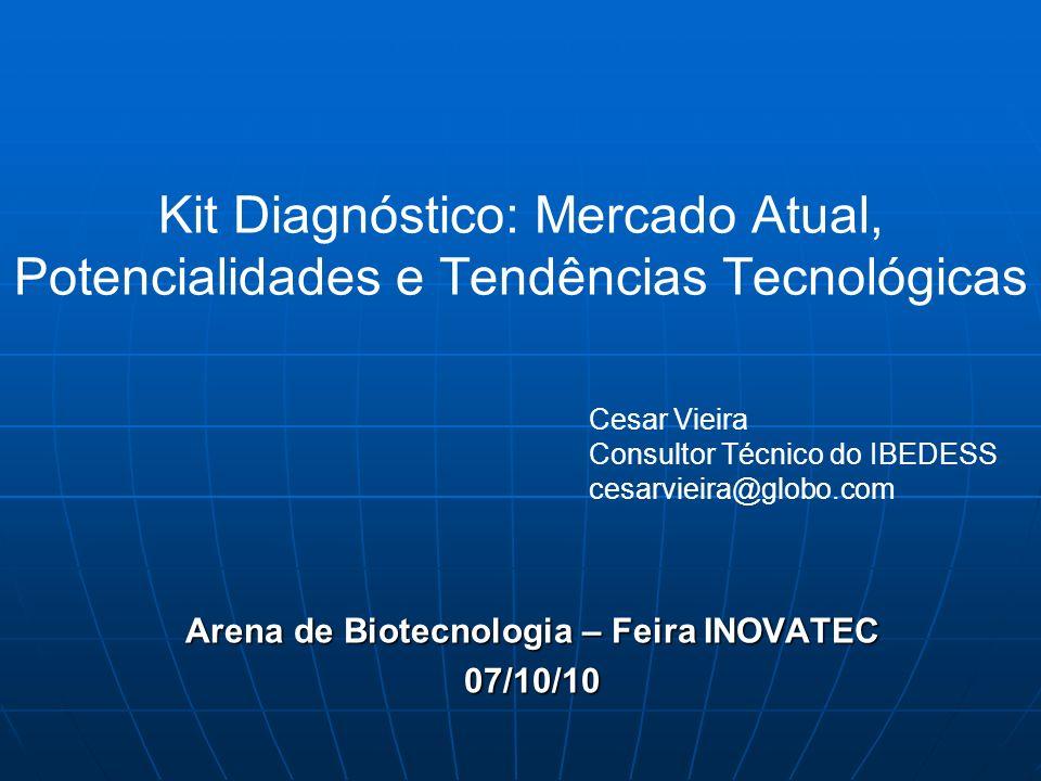 Kit Diagnóstico: Mercado Atual, Potencialidades e Tendências Tecnológicas Arena de Biotecnologia – Feira INOVATEC 07/10/10 Cesar Vieira Consultor Técn