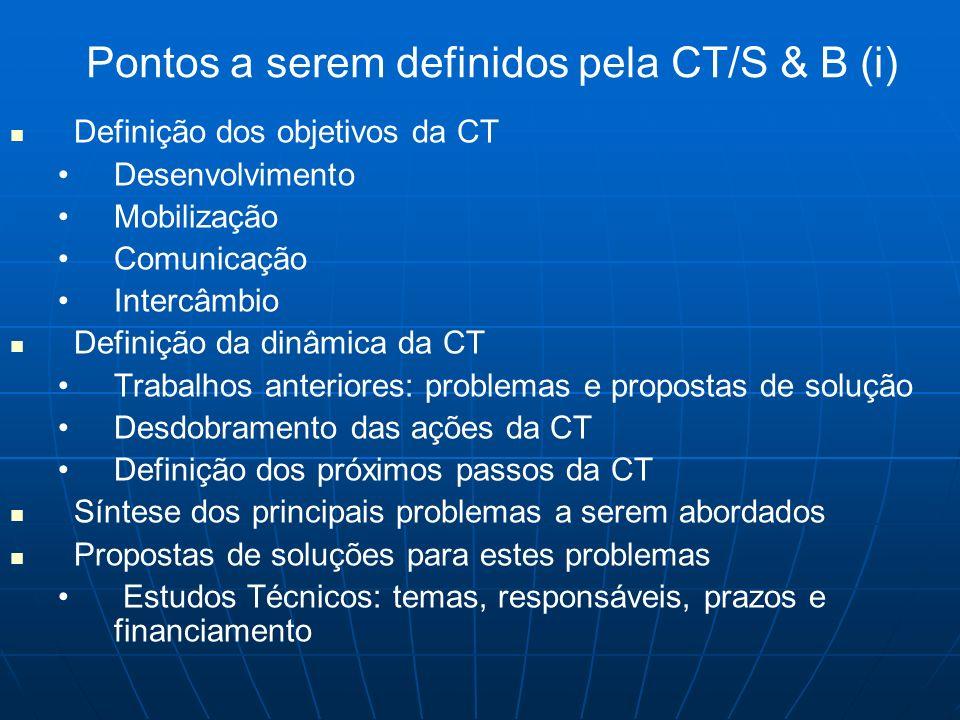 Pontos a serem definidos pela CT/S & B (i) Definição dos objetivos da CT Desenvolvimento Mobilização Comunicação Intercâmbio Definição da dinâmica da