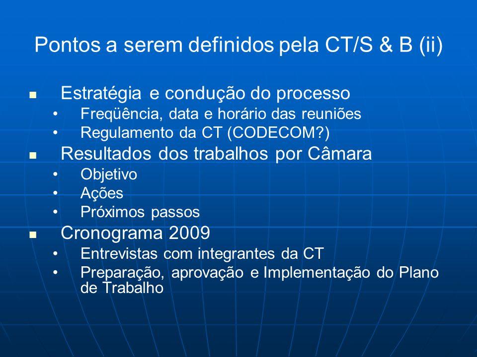 Pontos a serem definidos pela CT/S & B (ii) Estratégia e condução do processo Freqüência, data e horário das reuniões Regulamento da CT (CODECOM?) Res