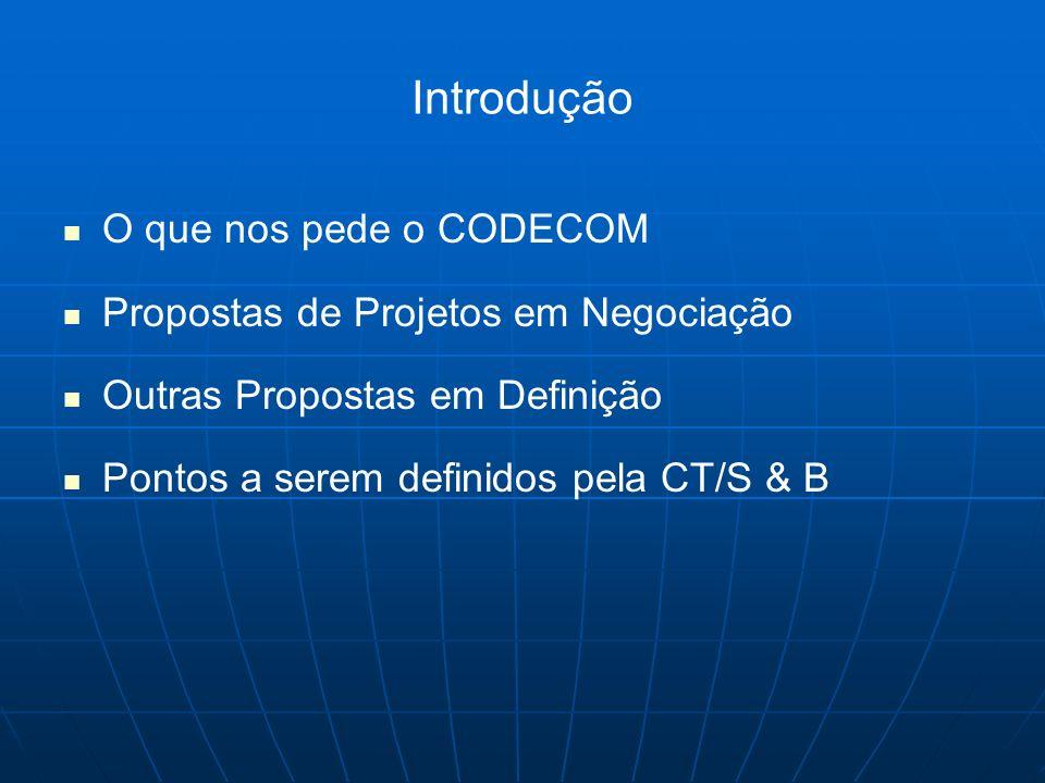 Introdução O que nos pede o CODECOM Propostas de Projetos em Negociação Outras Propostas em Definição Pontos a serem definidos pela CT/S & B