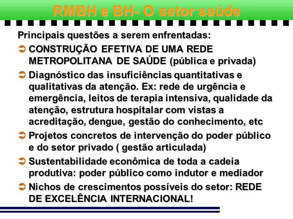 RMBH e BH- O setor saúde Principais questões a serem enfrentadas: CONSTRUÇÃO EFETIVA DE UMA REDE METROPOLITANA DE SAÚDE (pública e privada) CONSTRUÇÃO