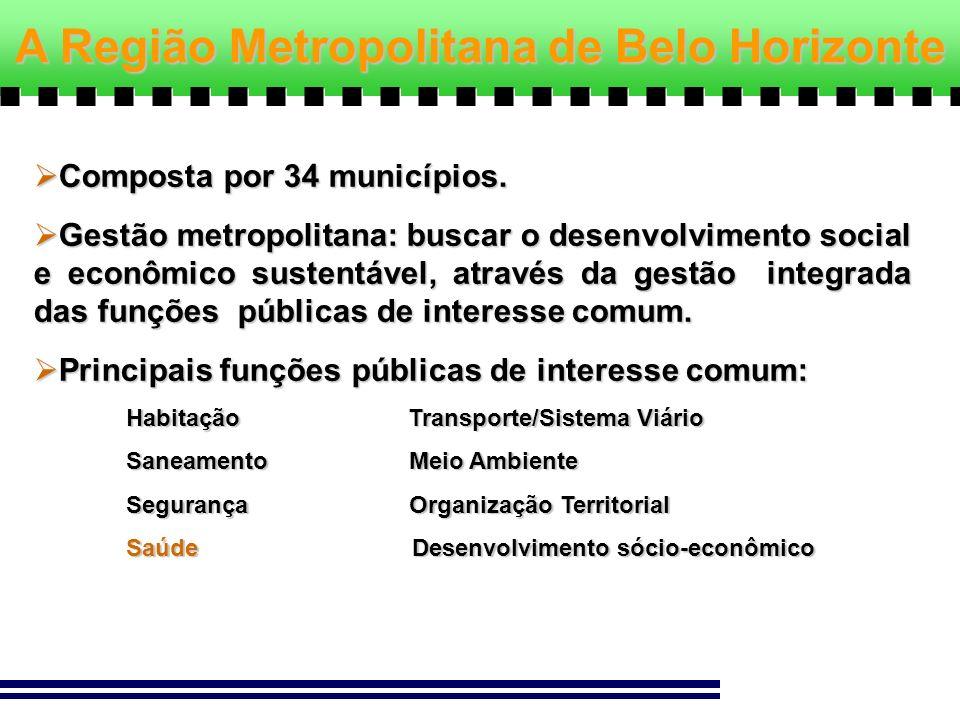 Composta por 34 municípios. Composta por 34 municípios. Gestão metropolitana: buscar o desenvolvimento social e econômico sustentável, através da gest