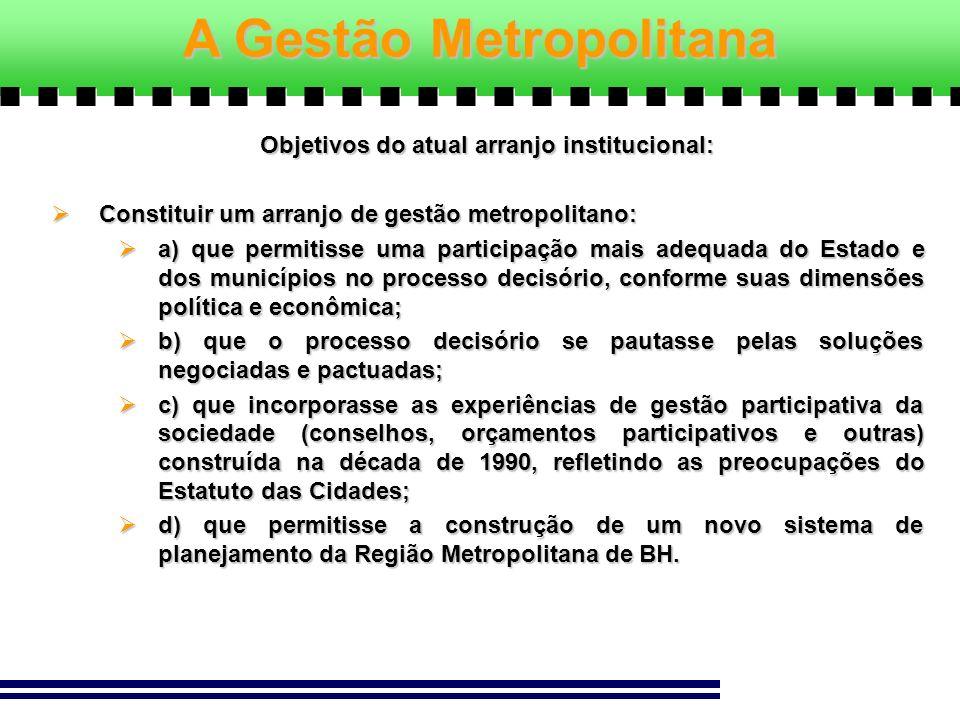 Objetivos do atual arranjo institucional: Constituir um arranjo de gestão metropolitano: Constituir um arranjo de gestão metropolitano: a) que permiti