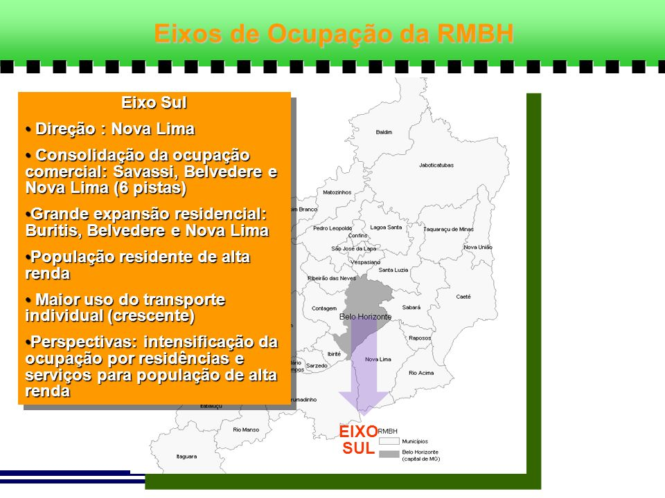 EIXO SUL Eixo Sul Direção : Nova Lima Direção : Nova Lima Consolidação da ocupação comercial: Savassi, Belvedere e Nova Lima (6 pistas) Consolidação d