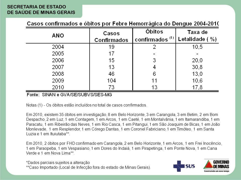 Notas (1) - Os óbitos estão incluídos no total de casos confirmados. Em 2010, existem 35 óbitos em investigação, 8 em Belo Horizonte, 3 em Carangola,