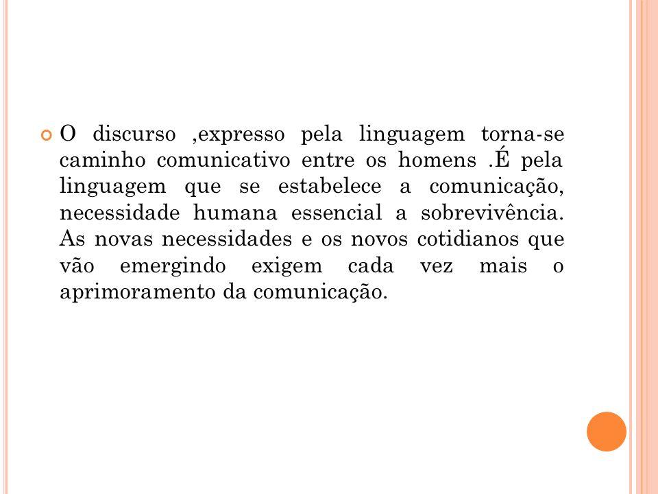 O discurso,expresso pela linguagem torna-se caminho comunicativo entre os homens.É pela linguagem que se estabelece a comunicação, necessidade humana