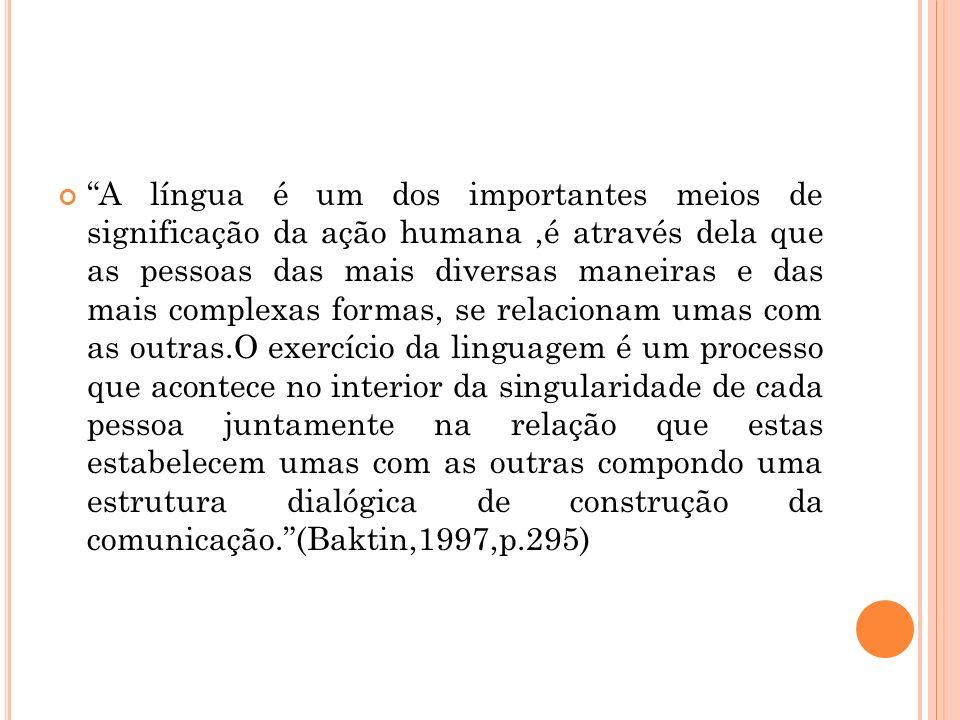 A língua é um dos importantes meios de significação da ação humana,é através dela que as pessoas das mais diversas maneiras e das mais complexas forma