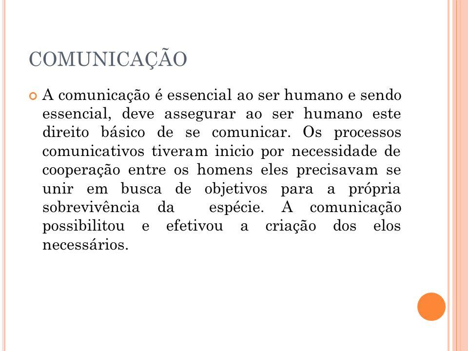 COMUNICAÇÃO A comunicação é essencial ao ser humano e sendo essencial, deve assegurar ao ser humano este direito básico de se comunicar. Os processos