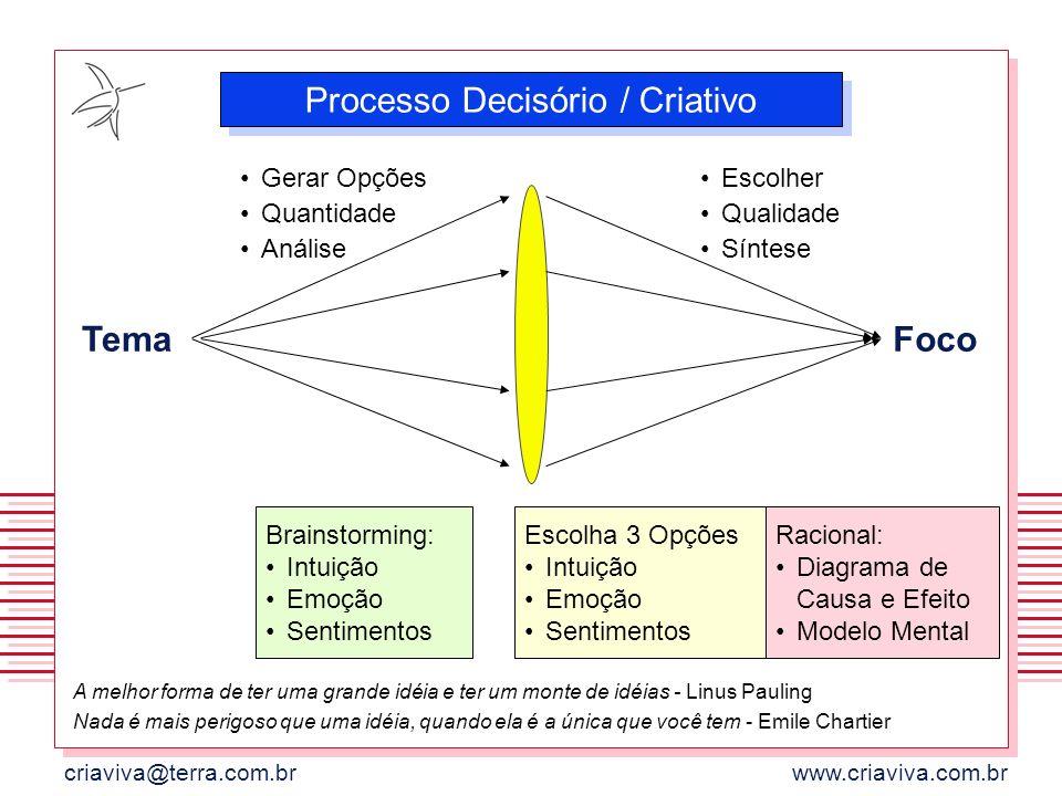 criaviva@terra.com.brwww.criaviva.com.br Tema Gerar Opções Quantidade Análise Escolher Qualidade Síntese Foco Brainstorming: Intuição Emoção Sentiment