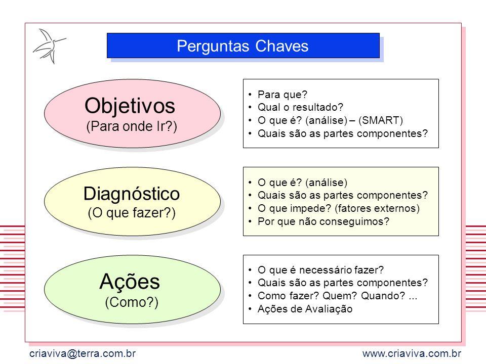 criaviva@terra.com.brwww.criaviva.com.br Objetivos (Para onde Ir?) Perguntas Chaves Diagnóstico (O que fazer?) Ações (Como?) Para que? Qual o resultad