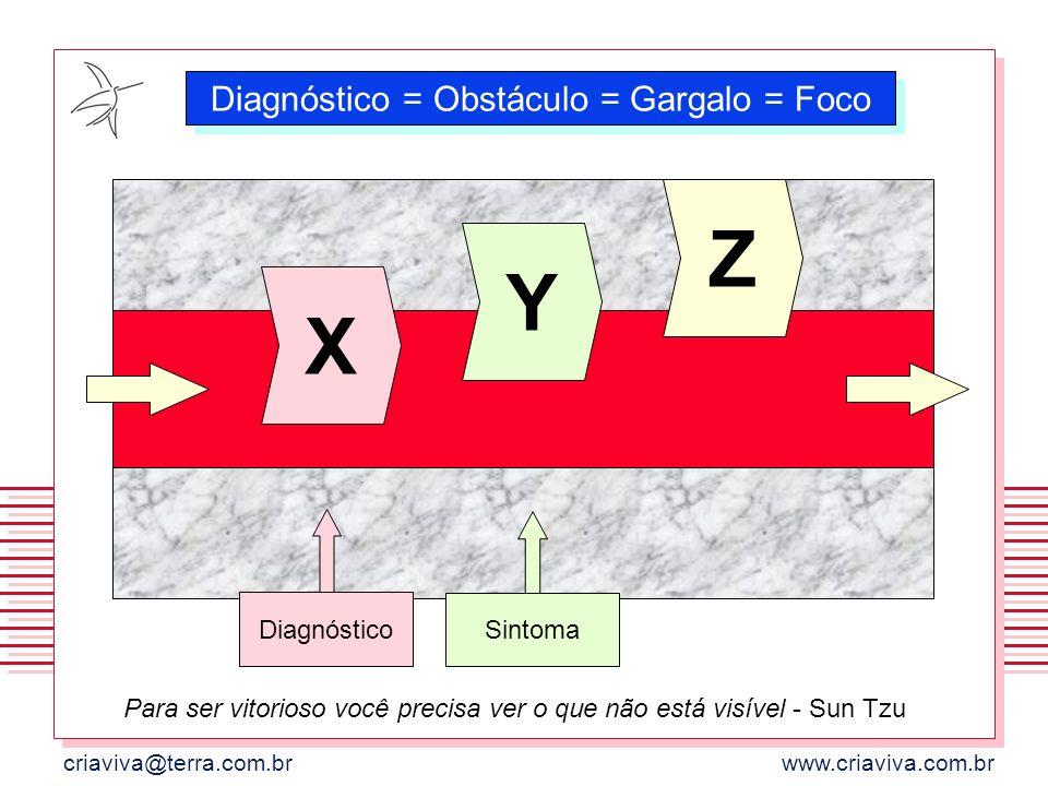 criaviva@terra.com.brwww.criaviva.com.br Diagnóstico = Obstáculo = Gargalo = Foco X Y Z Sintoma Diagnóstico Para ser vitorioso você precisa ver o que
