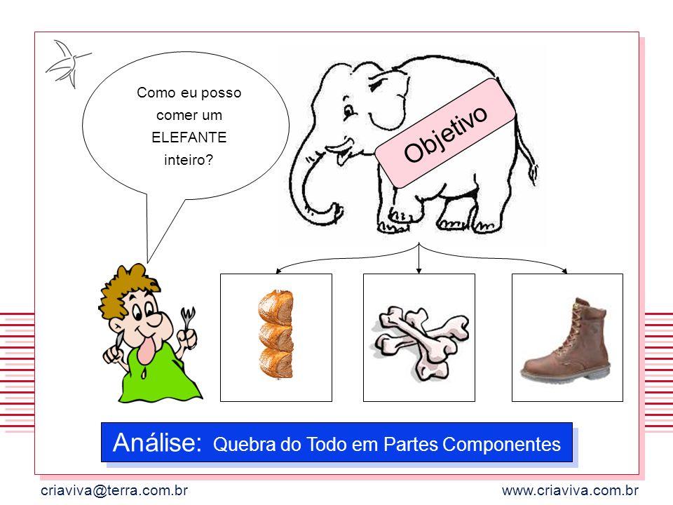 criaviva@terra.com.brwww.criaviva.com.br Como eu posso comer um ELEFANTE inteiro? Análise: Quebra do Todo em Partes Componentes Objetivo