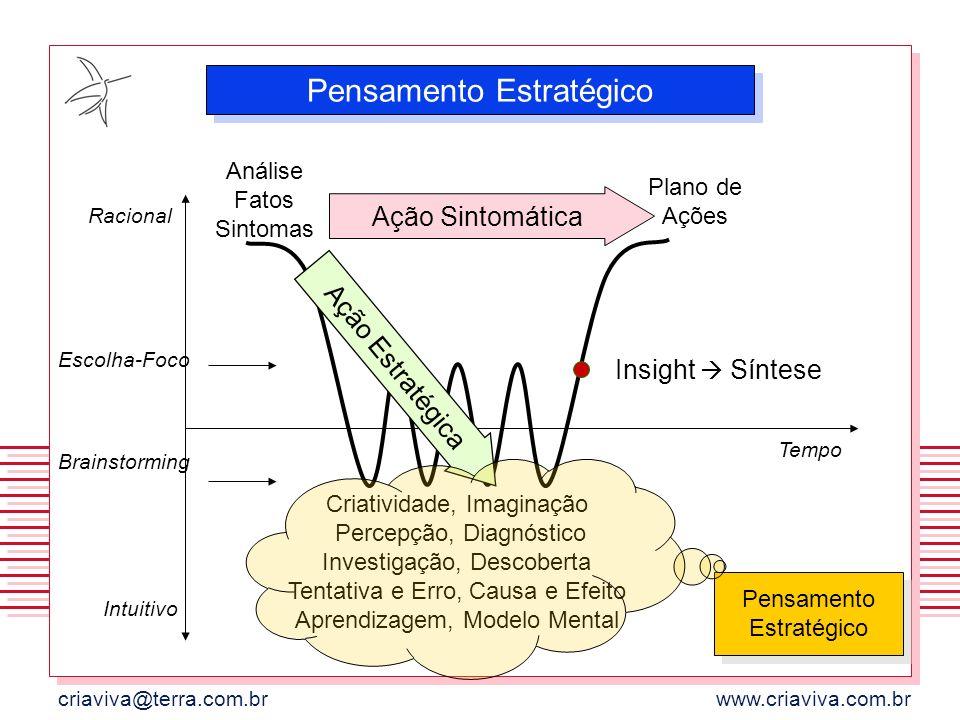 criaviva@terra.com.brwww.criaviva.com.br Racional Escolha-Foco Brainstorming Intuitivo Tempo Análise Fatos Sintomas Plano de Ações Criatividade, Imagi