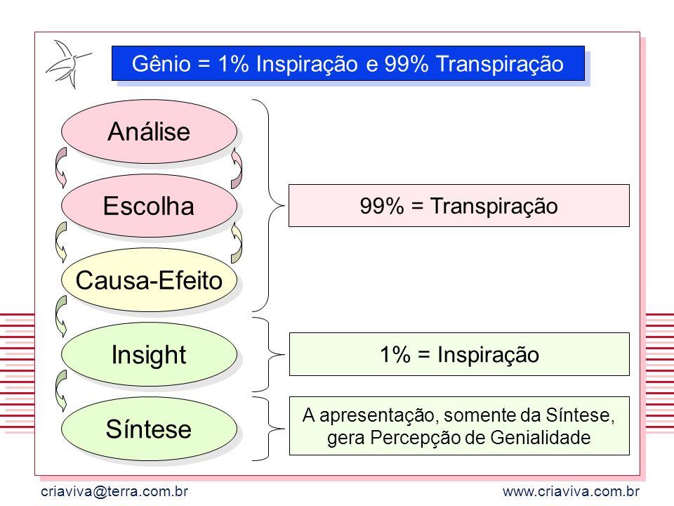 criaviva@terra.com.brwww.criaviva.com.br Gênio = 1% Inspiração e 99% Transpiração 99% = Transpiração 1% = Inspiração Escolha Causa-Efeito Insight Sínt