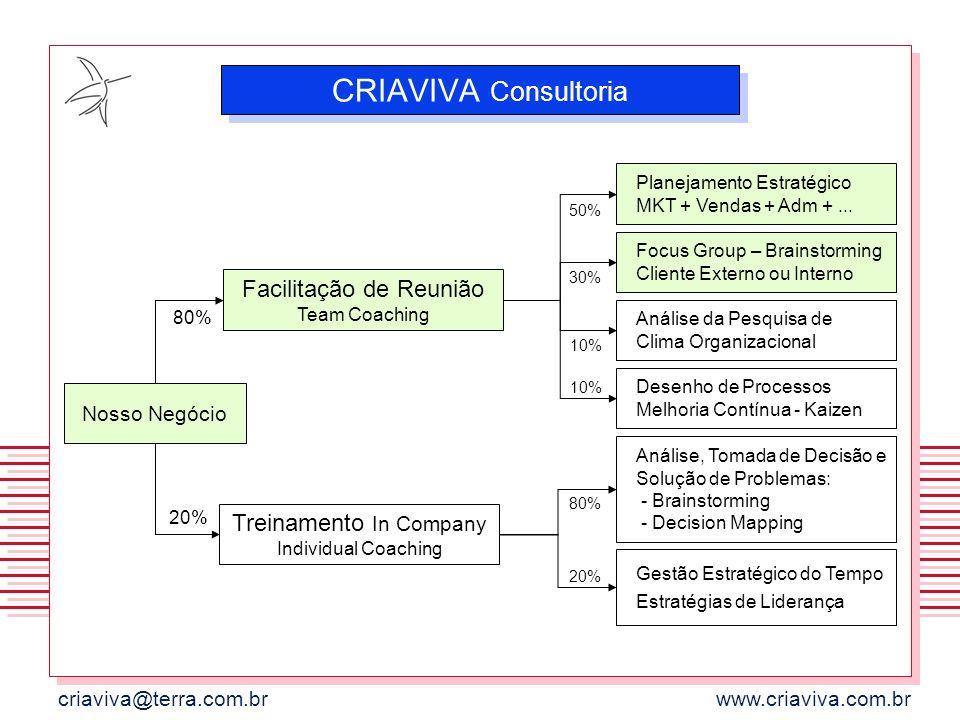 criaviva@terra.com.brwww.criaviva.com.br CRIAVIVA Consultoria Nosso Negócio Facilitação de Reunião Team Coaching 80% Treinamento In Company Individual