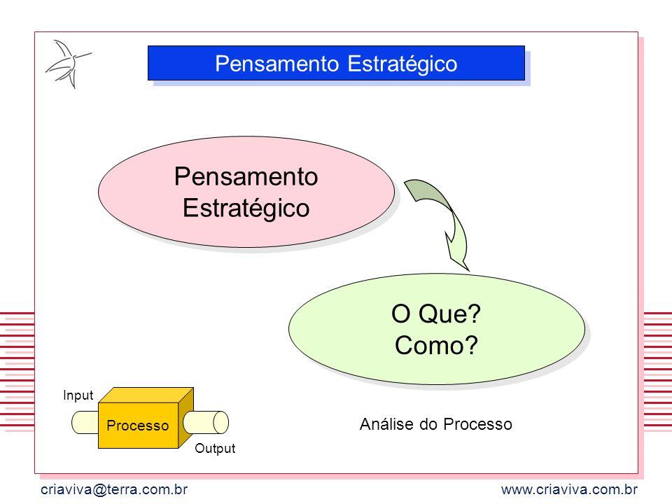 criaviva@terra.com.brwww.criaviva.com.br Pensamento Estratégico Processo Input Output O Que? Como? Análise do Processo
