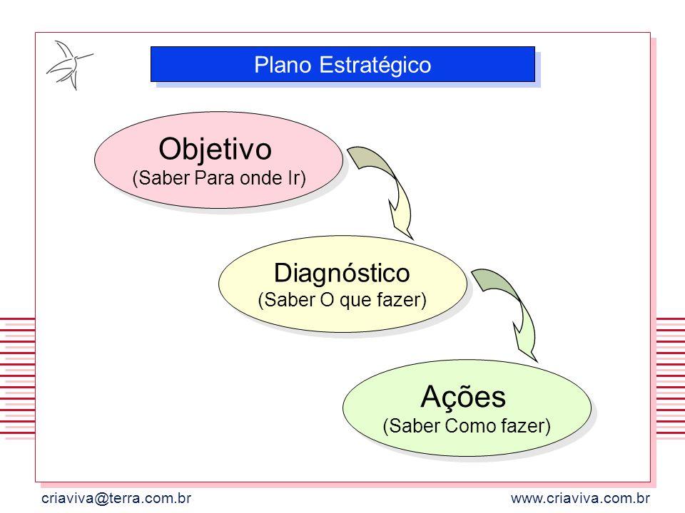 criaviva@terra.com.brwww.criaviva.com.br Objetivo (Saber Para onde Ir) Plano Estratégico Diagnóstico (Saber O que fazer) Ações (Saber Como fazer)