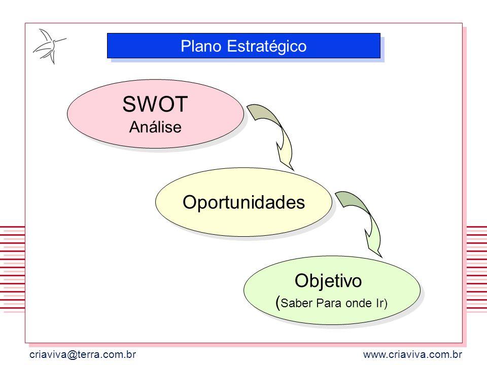 criaviva@terra.com.brwww.criaviva.com.br SWOT Análise Plano Estratégico Oportunidades Objetivo ( Saber Para onde Ir)