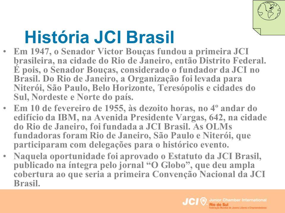 História JCI Brasil Em 1947, o Senador Victor Bouças fundou a primeira JCI brasileira, na cidade do Rio de Janeiro, então Distrito Federal. É pois, o