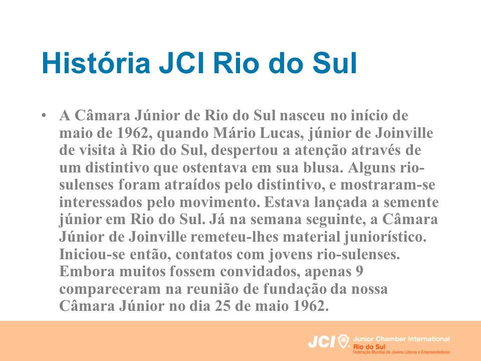 História JCI Rio do Sul A Câmara Júnior de Rio do Sul nasceu no início de maio de 1962, quando Mário Lucas, júnior de Joinville de visita à Rio do Sul