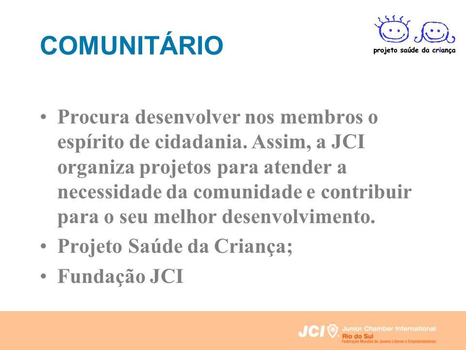 COMUNITÁRIO Procura desenvolver nos membros o espírito de cidadania. Assim, a JCI organiza projetos para atender a necessidade da comunidade e contrib