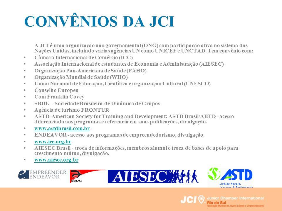 CONVÊNIOS DA JCI A JCI é uma organização não governamental (ONG) com participação ativa no sistema das Nações Unidas, incluindo varias agências UN com